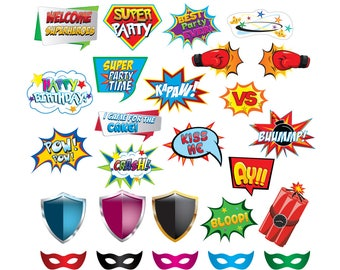 Comic Photo Booth set 26 pieces - Printable, Instant Download, High Resolution, printable, happy, signs, Party, superheroes