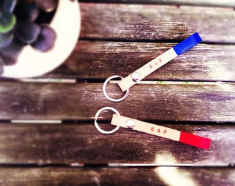 Couple's leather key chain
