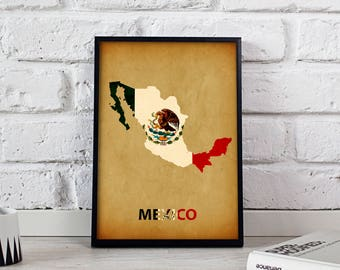 Mexico poster Mexico art Mexico Map poster Mexico print wall art Mexico wall decor