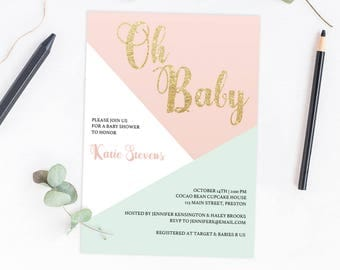 Oh Baby Invitation Girl Printable Mint and Coral Baby Shower Gold and Pink Baby Shower Invitations Geometric Invitations Shower Invites GP1