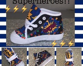 Super Hero*Super Heros Shoes* Super Heros Sneakers * Super Heros Custom*Custom Super Hero Sneakers* Boys Bling*Boys Bling Cartoon Sneakers*