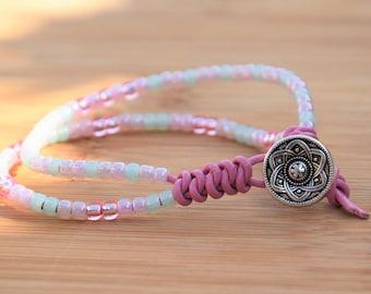Double leather strand beaded wrap bracelet