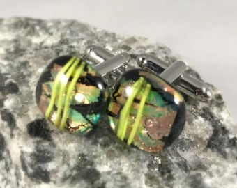 Fused Dichroic Glass Cuff Links