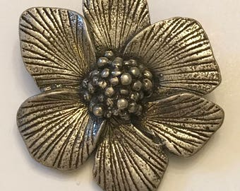 Vintage Wild Dogwood Flower Brooch marked Miracle