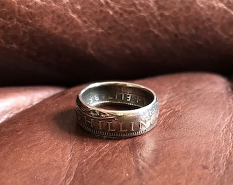 Coin ring made from a one shilling coin