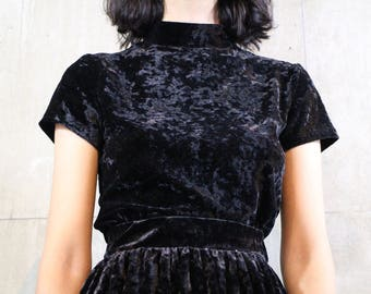 Black Crushed Velvet Top