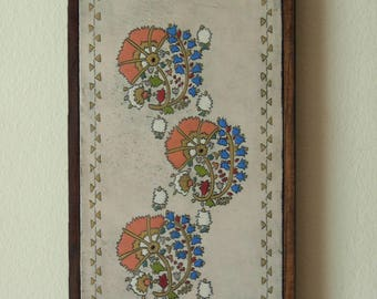 folk art painting on wood art,carnations