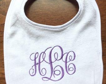 Monogrammed Bib, Monogrammed Girls Bib, Personalized Bib, Baby Bib, Infant Bib