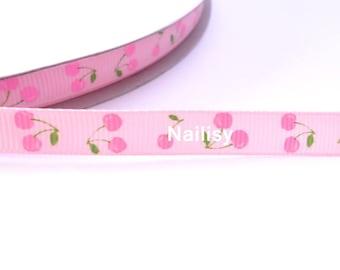 1 meter of Ribbon cherry pattern