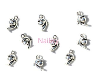 Set of 15 small REF022X3 silver Dolphin charms