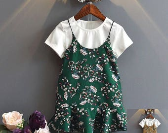 Baby girl's flower print dress with inner shirt