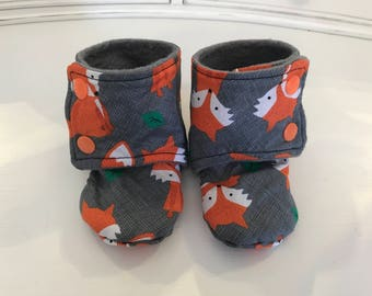 Foxy Baby Booties, size 6-12 months.