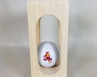 Arizona State Sun Devils Logo Golf Ball in Solid Wood Display - How does the ball get in there?