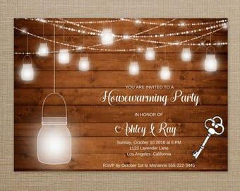 Rustic Housewarming Invitation Key, Mason Jar Housewarming Invite, Rustic Housewarming Invitation, Home Sweet Home, New House Invite