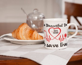 It's a Beautiful day to save Lives - Greys Anatomy Mug.. Pefect gift for the Greyanatic fan in your life <3