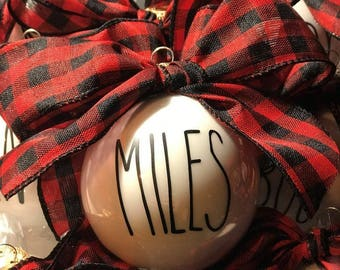 Rae Dunn Inspired Personalized and Custom Christmas Ornaments -Individual or set of 8.
