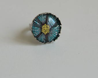ring cabochon 18 mm silver wax backing