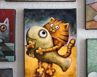 cat with fish, cat on the beach, Wall Art, Modern Art, fish,  Ivan Glock - berlin cat, rad cat - Giclée print -