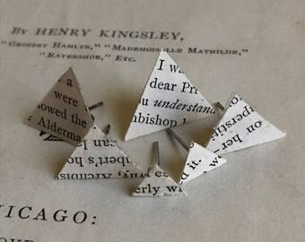 Book Page Triangle Stud Earrings