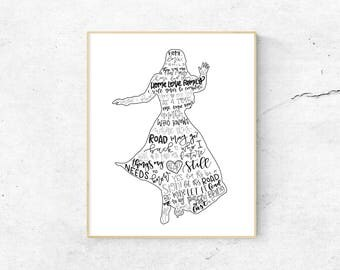 Anastasia Musical Silhouette Print | Hand Lettered | Black and White | Digital Download