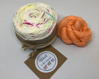 Hand Dyed 4 ply Superwash Merino -Rainbow drops with orange mini skein