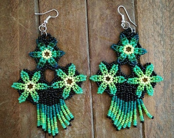 """Glass beads earrings """"Green Flower"""" handmade by craftsmen, lightweight, S & C Creations"""