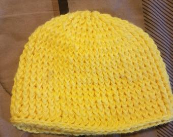 yellow crocheted hat