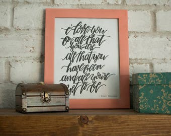 I Love You For All That You Are // Ernest Hemingway // Hand-lettered Digital Print // Printable