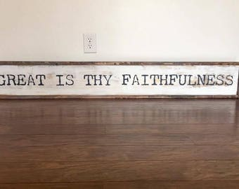 Rustic Great is They Faithfulness Farmhouse Sign - Distressed | Rustic Farmhouse Decor | Rustic Decor | Bible Verse Decor | Inspirational