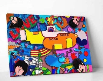 """Canvas """"Beatles yellow Sub"""" by Howie Green"""