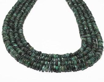 "Amazing Quality Natural Emerald Heishi Beads 5-5.5 MM  16"" Full Strand Tyre Beads Emerald Gemstone | Heishi Tyre Shape beads Emerald Beads"
