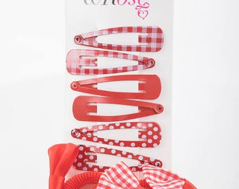 Pattern School clips and Ponio set, Back to School,Red School Elastic,Red Clips,Navy Bobbles,School hair accessories,School hairclips,ponios