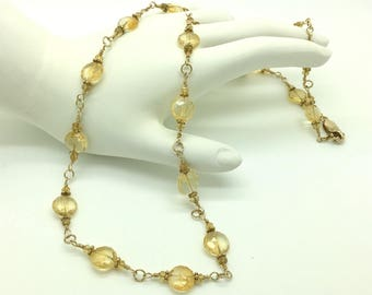 Citrine Chain Link Necklace with hand woven gold fill links
