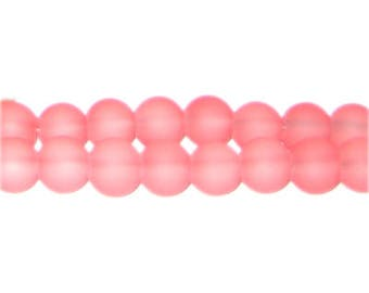 10mm Peachy Pink Sea/Beach-Style Glass Bead, approx. 22 beads