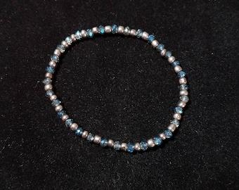 Metallic and Blue Crystal Beaded Bracelet