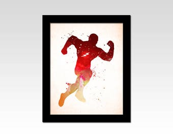 Marvel inspired The Flash watercolour effect print