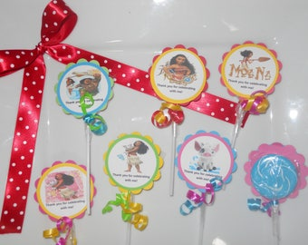 "24 Disney Moana party favors 2"" hard candy swirl lollipops Personalized 2nd 3rd 4th 5th 6th 7th 8th 9th Birthday favors"