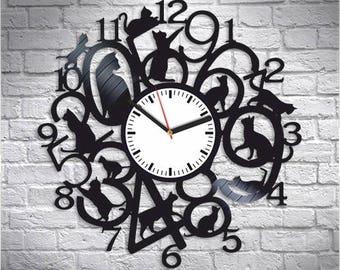 horloge murale chat