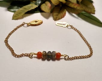 Peach Chalcedony/ Labradorite/ chain bracelet/layering bracelet/ stacking bracelet/ boho chic