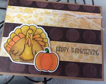 Happy Thanksgiving Card, Thanksgiving Turkey Card, Fall Season Greeting, Holiday Greeting, Happy Turkey Day Card