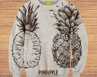 TeenMango Colorful Hand Painted Pineapple Sweater (fullprint, colorfull) free worldwide shipping