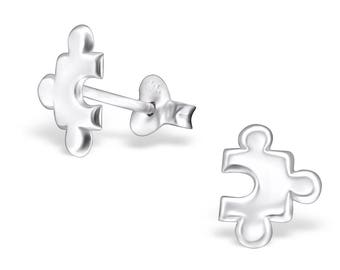 Handmade Jigsaw Puzzle Piece Earrings - Genuine Sterling Silver - Exclusive to Katy Craig Ltd - FREE POSTAGE