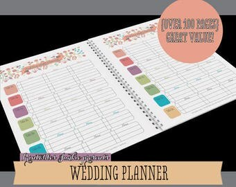 Wedding Planner Printable - Ultimate Printable Wedding Planning Kit: 110 Modern Organizer Pages, Checklist, Budget Letter INSTANT DOWNLOAD