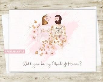 Maid of Honor Invitation Card PRINTABLE, Maid of Honor Invite, Will you be my Maid of Honor, Wedding Invitation