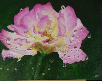 Dew on rose - Acrylic on canvas - original painting on canvas - original artwork - original flower paintings - acrylic art - Flower art
