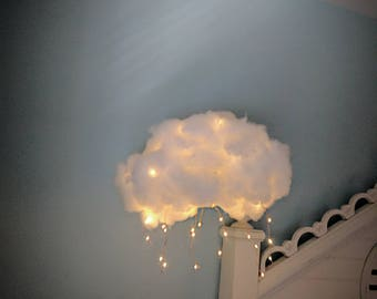Light up cloud with lightning bolts.children room decor.