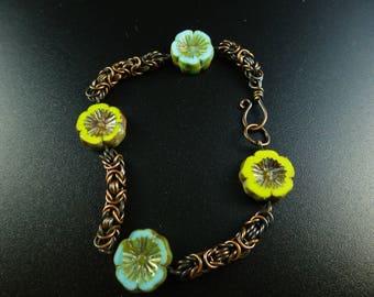 Spring Flowers Copper Byzantium Bracelet