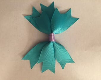 Teal and purple hair bow