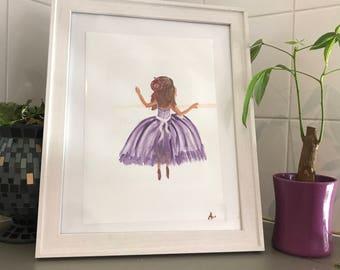 Original watercolour ballerina print ,