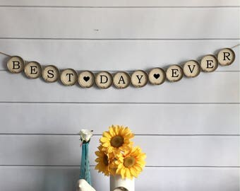 "Wedding Banner - ""Best Day Ever"" Rustic Style Mason Jar Lid Bunting (Item 1225H)"